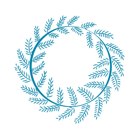 Christmas pattern, wreath that is made up of long branch of pine, circle that symbolize eternity, vector illustration isolated on white background