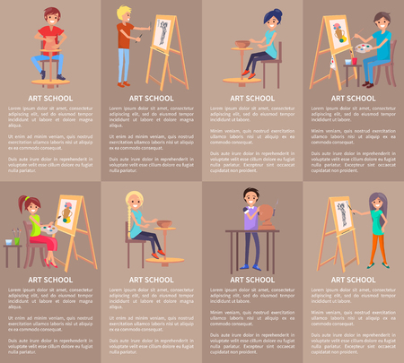 Art school set of banners with people doing pottery modeling, drawing on easel, creating pots from clay, making sculptures vector illustrations Иллюстрация