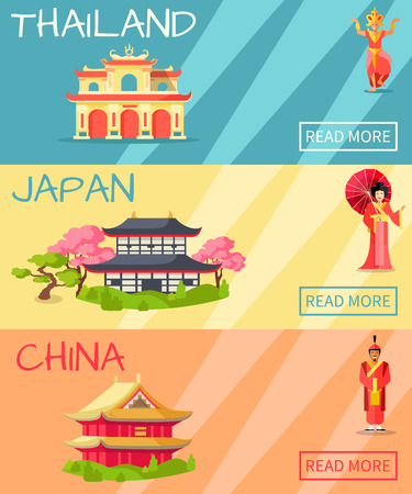 Thailand, Japan and China types of houses web banner. Vector poster of Thailand building, Japanese traditional house and Chinese symbolic dwelling with figures of women, ancient soldier and statue