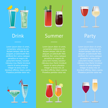 Summer drink party poster with alcoholic drinks in festive decorated glasses. Vector illustration of beverages with space for text on color backgrounds