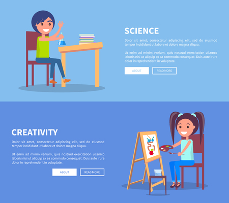 Science Creativity Posters Set with Girl and Boy