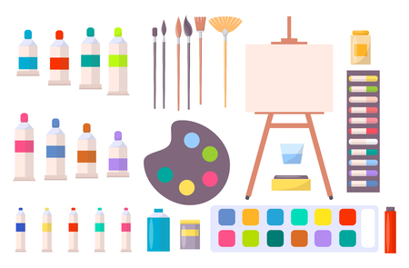 Art supplies vector illustration with icons of easel, different brushes, various paints and other tools and instruments for painting in cartoon style Vettoriali