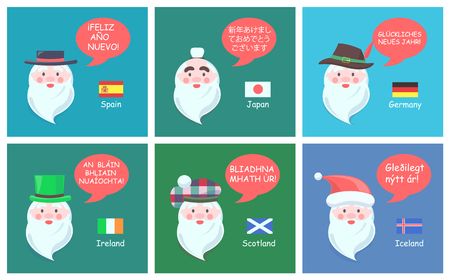 International Santa Clauses Greet with New Year