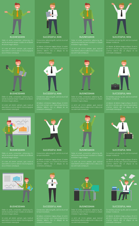 Set of posters businessmans activity at work with text and title sample below each image vector illustration isolated on green, office worker routine