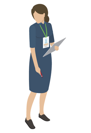 Female in blue midi dress holds gray tablet in one hand, other arm keeps red pen, looking sideways. Vector illustration on white background.