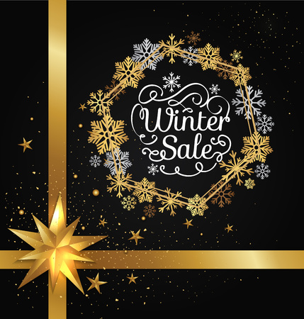 Winter sale poster in decorative frame made of golden snowflakes, glittering stars, snowballs of gold in x-mas border isolated on black vector with bow Çizim
