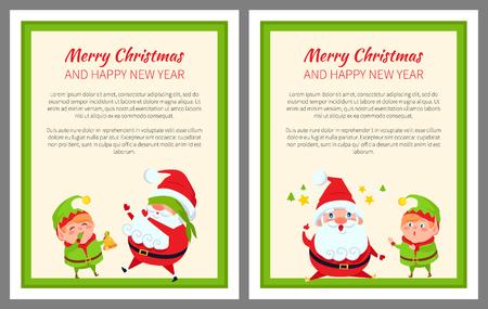 Santa and Elf Cartoon Playing in Hide-and-Seek Set