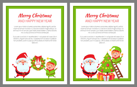 Merry Christmas and happy New Year, promo posters with preparations for holiday, Santa and elf standing with wreath and decorate vector illustration Illustration