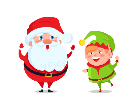 Santa and elf cartoon characters greets everyone and wishes Merry Christmas and Happy New Year, cartoon characters isolated on white background