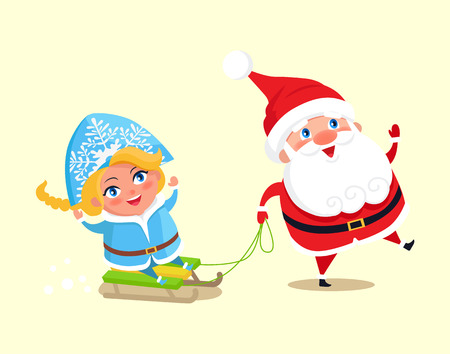 Santa carry snow maiden on sleigh vector colorful illustration isolated on white. Happy Father Christmas and grand daughter having fun, winter holidays