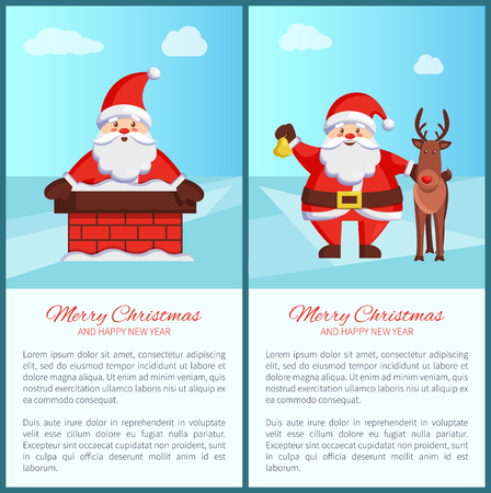 Santa Claus in a chimney and with a reindeer card designs. Illustration