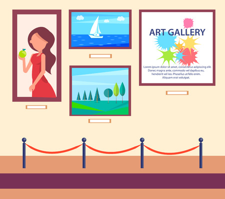 Art Gallery Exhibition with Pictures Hang on Wall