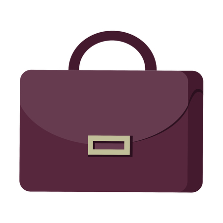 Purple suitcase with handle and clasp flat design graphic image on white background. Illustration