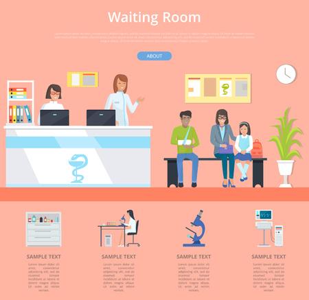 Servicio de hospital en sala de espera con recepción en la clínica y pacientes esperando cita con el médico.
