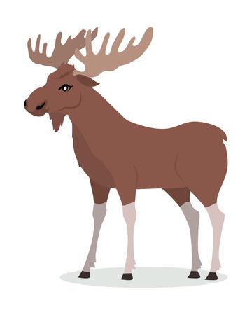 Moose Male Vector Illustration in Flat Design Vettoriali