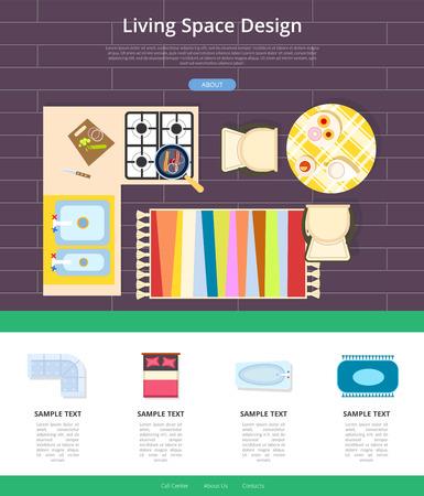 Living Space Design Web Page Vector Illustration