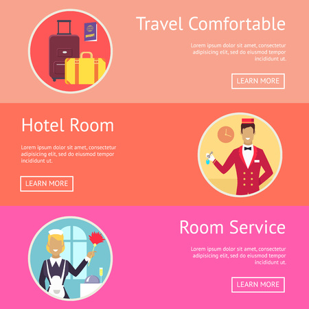 Travel Comfortable Wish and Hotel Services Illustration