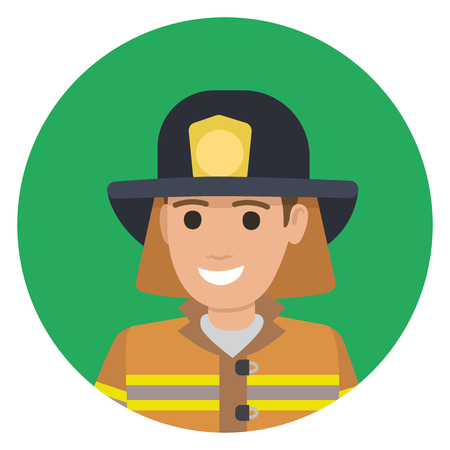 Cheerful Firefighter in Protective Suit and Black Hat Illustration