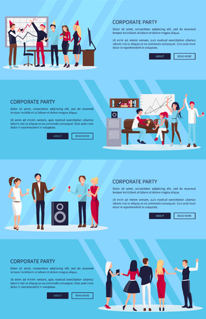Corporate party set in blue background vector illustration. Illustration