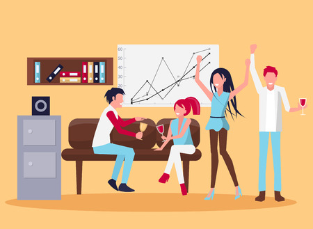 Smiling People in Office Wine Vector Illustration Illustration