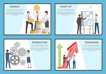 Set of posters dedicated to business. Vector illustration of employees holding large coins, red arrow, spinning cogwheel and discussing new project Ilustração