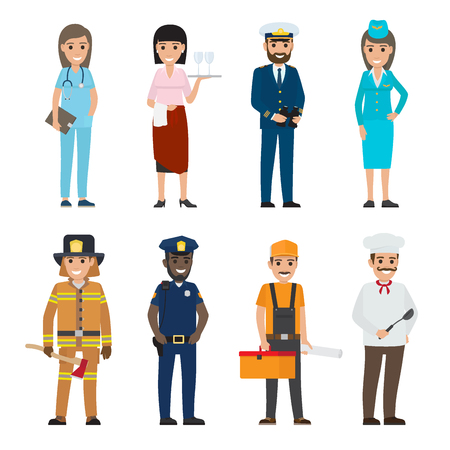 Vector illustration of policeman and lifesaver, medical adviser, bearded mariner and cook with ladle, stewardess near waiter, builder with tool box.