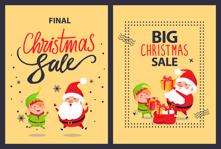Big sale final Christmas discounts posters set with elf in green costume and Santa Claus putting presents into red bag full of wrapped gift boxes vector.