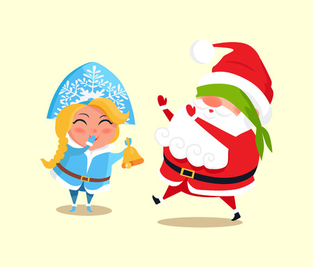 Snow Maiden and Santa Claus playing blind man s buffs icon isolated on white background. Vector illustration with winter characters having fun in game
