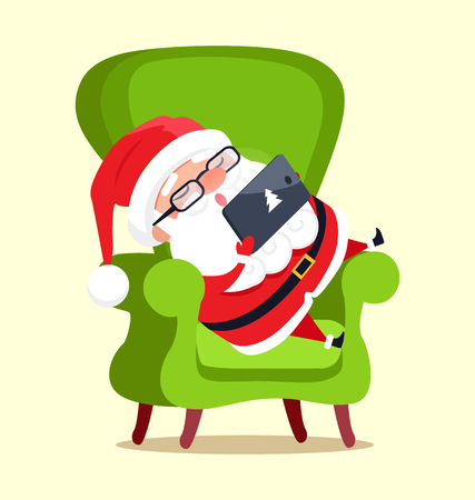 Santa Claus with tablet sitting on green chair icon isolated on white background. Vector illustration with Christmas symbol checking out his device Illustration
