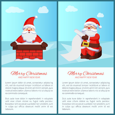 Merry Christmas and Happy New Year poster with text, Santa Claus in chimney, reading wish list vector illustration smiling Xmas symbol postcard design