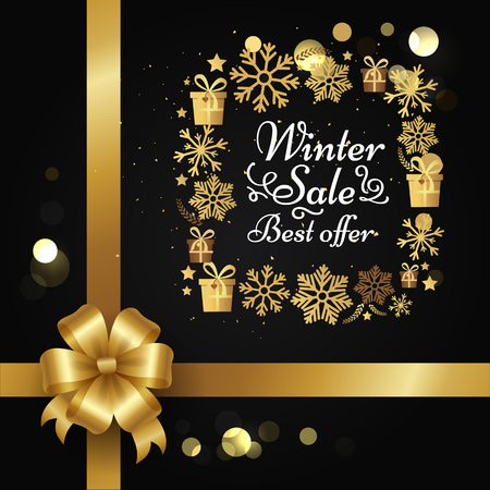 Winter sale best offer poster with gift bow, decorative square frame made of golden snowflakes, presents boxes in xmas concept vector on black with splashes Ilustracja