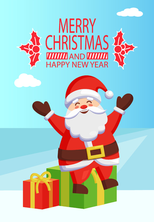 Merry Christmas and Happy New Year inscription with mistletoe, poster Santa Claus sitting on gift boxes on winter landscape vector illustration