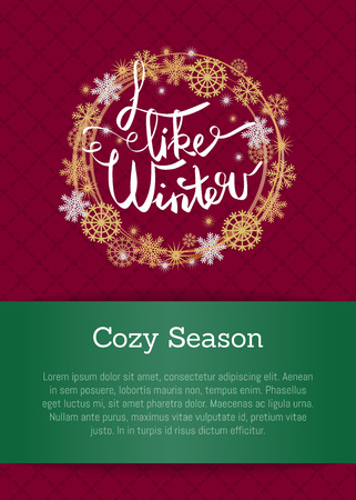 I like winter cosy season poster in decorative frame silver and golden snowflakes snowballs of gold in x-mas theme on burgundy and green with text.
