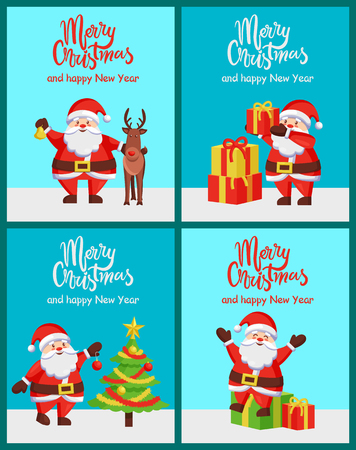 Merry Christmas happy New Year congratulations set of posters with Santa Claus with presents and reindeer. Vector illustration with fairy tale characters