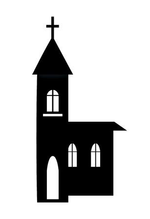 Church building silhouette icon isolated on white background. Vector illustration with black house equipped with small cross on top of roof and bell Illustration
