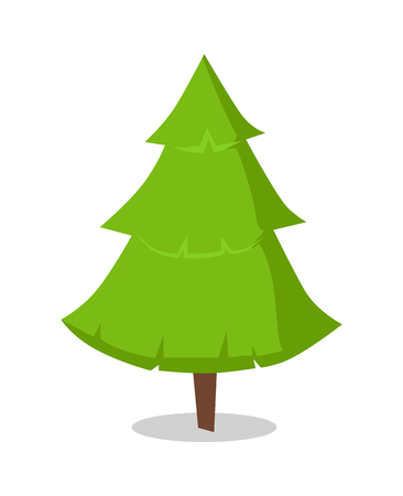 Green Bushy Christmas Tree Icon Isolated on White
