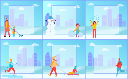 Winter activities posters set representing mother and her child walking dog, snowman and skiing man, filling form in centre on vector illustration