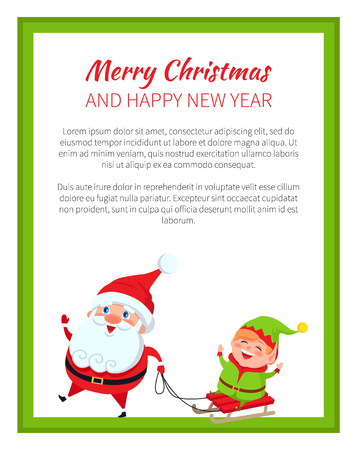 Frohe Weihnachten und Happy New Year Poster Santa Standard-Bild - 97307933