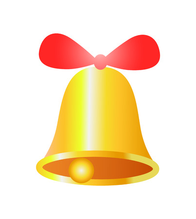 Gold Bell with Red Ribbon Realistic Design Vector