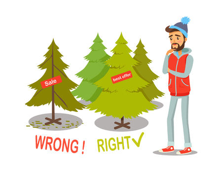 Sale and Offer Christmas Tree Vector Illustration Çizim