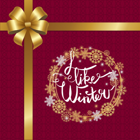 I like winter poster with decor bow and ribbon in left up corner, decorated by frame made of silver and golden snowflakes isolated on burgundy background