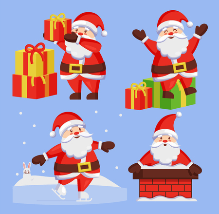Santa Clauses set of icons. Saint Nicholas with wish gift boxes wishes Merry xmas, Father Christmas in chimney made of bricks, playing outdoors vector
