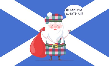 Santa Claus in kilt and beret hold heavy bag and greets with New Year in Scottish language with national flag behind cartoon vector illustration.