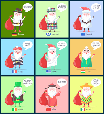 Iceland and France, Santa Clauses representations and translated greeting happy New Year in different languages, isolated on vector illustration 向量圖像