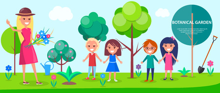 Botanical garden excursion for little children with female guide. Tall green trees, colorful flowers and neat lawn vector illustrations. Illustration