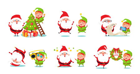 Elf and Santa Claus icons isolated on white background. Vector illustration with fairy tale winter holidays happy symbols preparing for Christmas