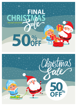 Final Christmas sale banner with Santa Claus and happy Snow maiden giving presents and riding on sleigh on winter landscape background at midnight