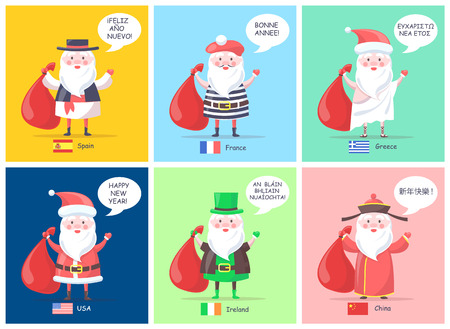 Spain and France, Greece and USA, Ireland and China Santa Clauses with translation of happy New Year and flags isolated on vector illustration