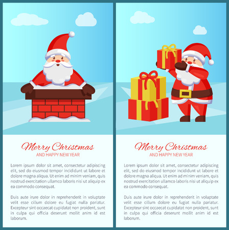 Merry Xmas and Happy New Year poster with text, Santa Claus and presents icon. Vector illustration with fairy tale winter character in brick chimney
