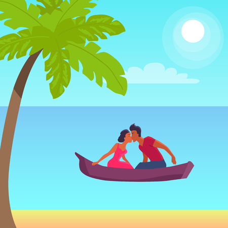 Summer love affair banner with kissing couple sailing together in one boat, relationships of strangers during vacation at summertime at seaside with palms